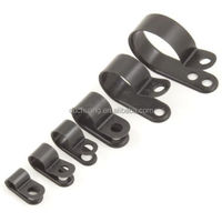 Nylon Black Plastic P Clips / Fasteners for Cable, Conduit, Tubing, Sleeving