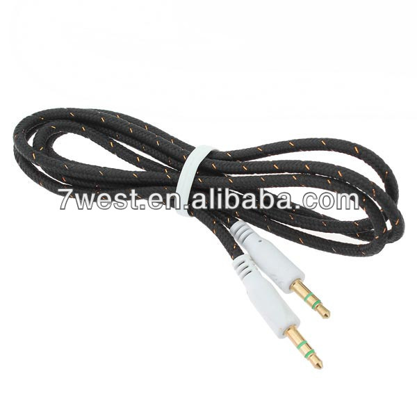 Braided 3.5mm Jack Male to Male Stereo Audio Aux Cable Cord for IPod iphone Headphone