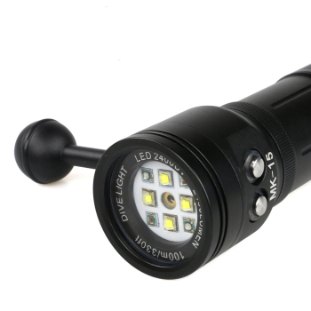 MK-15 Meikon IPX8 Waterproof Aluminum  alloy Diving Flashlight 36520 Rechargeable Battery 2400Lu U2 Diving Torch Flash Light