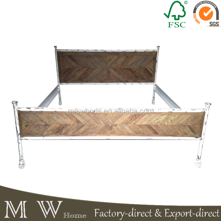 white metal frame industrial elm wood bed reclaimed