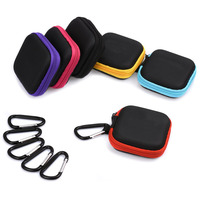 Factory Custom 6 Colors Durable Hard Shell Shockproof EVA Earphone Carrying Case with Carabiner