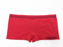 Ladies solid boylegs in red color with waist stripe line