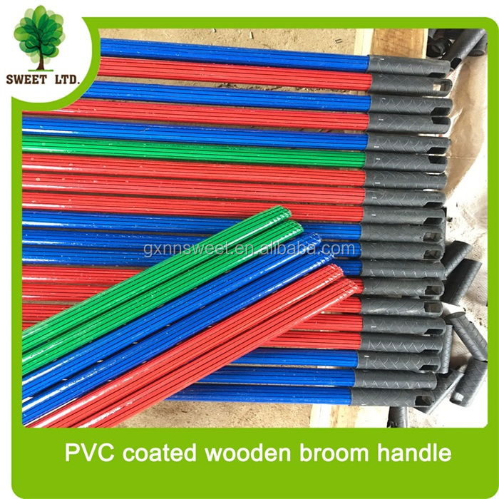 Manufacture PVC strip design wood handle for broom with long cap