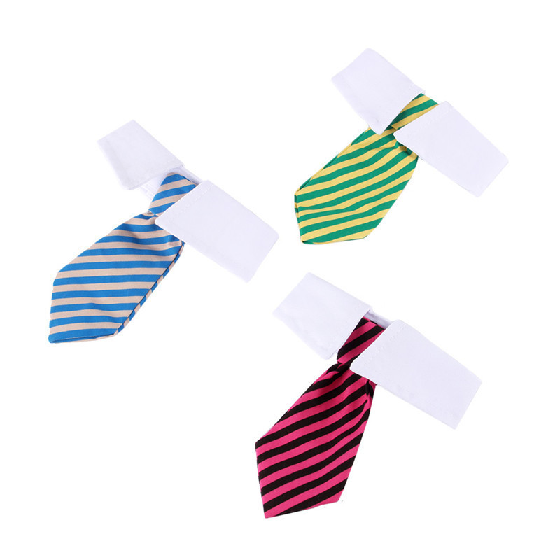 Dog Grooming Cat Striped Bow Tie Animal Bowtie Collar Pet Adjustable Neck White Necktie For Party Wedding