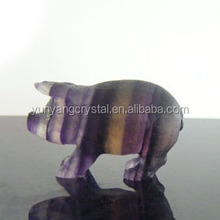 Modern and Abstract rainbow flourite stone PIG sculpture