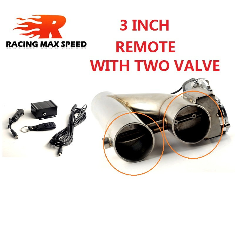 3 Inch stainless Steel doubled valve And Pipe Muffler Catback Bypass <strong>Exhaust</strong> Trim Down Tube Remote Control Electric Extractor