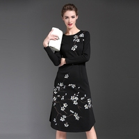 Chinese traditional style 2016 new design trendy women clothing plus size elegant prom party wear flower embroidery maxi dress