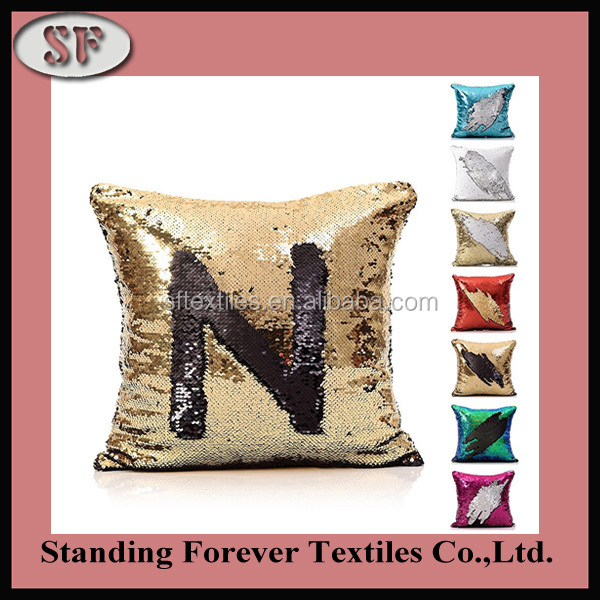 Wholesale embroidered outdoor 3d reversible sequin cusion, fancy hand embroidery cushion cover,reversible sequin pillow
