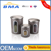 Brown Gray Stainless Steel Kitchen Canister Set With Lids