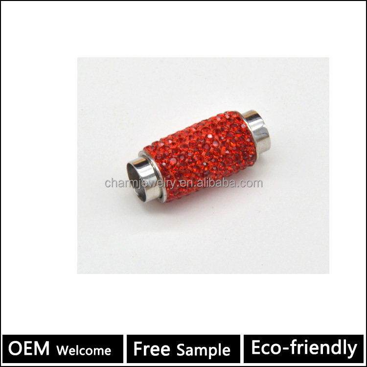 BX083 pave diamond stainless Steel Magnetic clasp for leather bracelets making handmade jewelry finding designer supplier