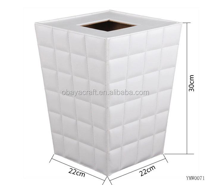 White PU leather Wooden Trash Bin