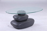 Hot sale tempered glass table top and stone painting base fiberglass coffee table