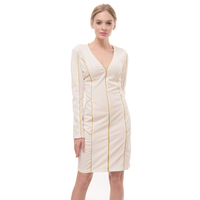 OEM Customize Fashion Lady Dress White Color Long Sleeve Formal Dress Wholesale