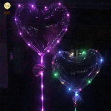 2018 Hot Selling Luminous Light Up Valentine Gift Helium Colorful Led Light String Bobo Balloon Led With Heart Shape