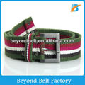 Boys' Green&White&Red Striped Heavy Web Canvas Belt