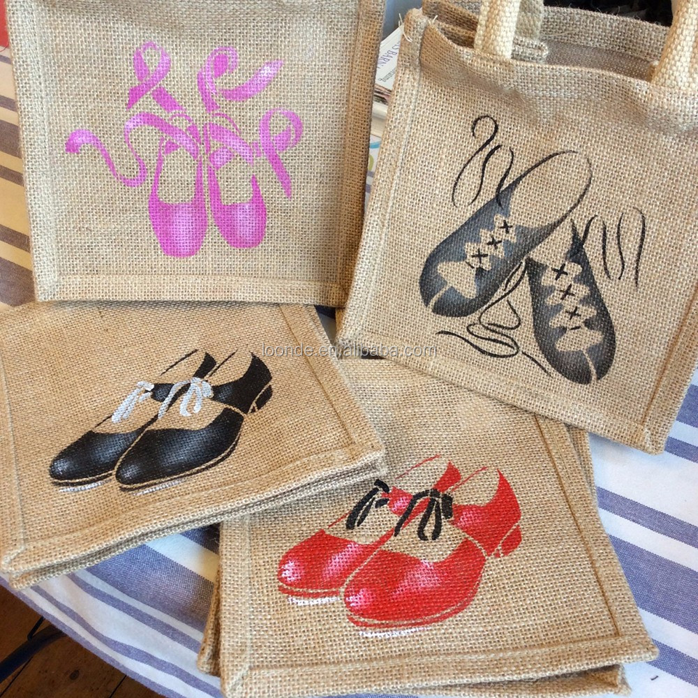 Individually hand dance shoes painted jute little eco bag