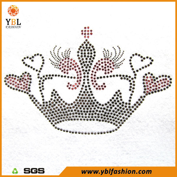 Rhinestone and Rhinestud Made Hot Fix Crown Motif Design