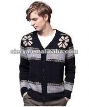 men's winter heavy jacquard cardigan sweater with buttons