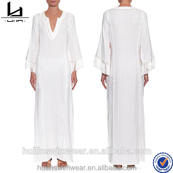 fashion beach kaftans long white embroidered front and back straps detail