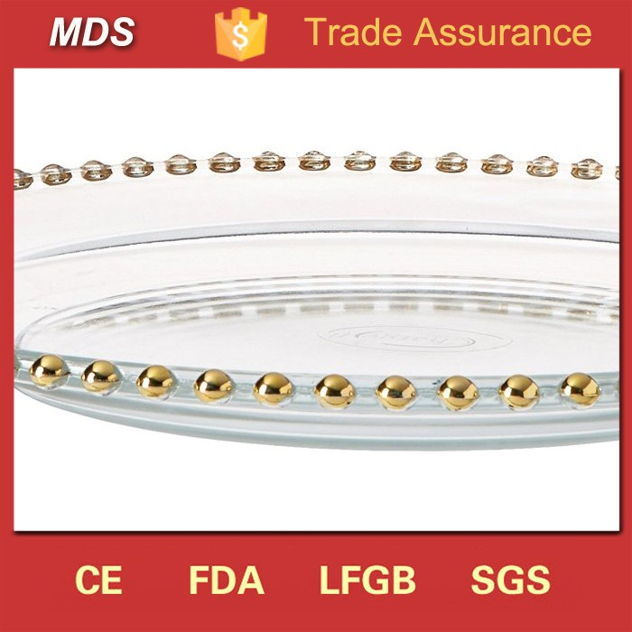 Wedding favors 12.5 inch glass charger plates with gold beaded rim