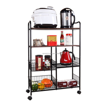 4 tier folding kitchen fruit vegetable trolley cart with baskets