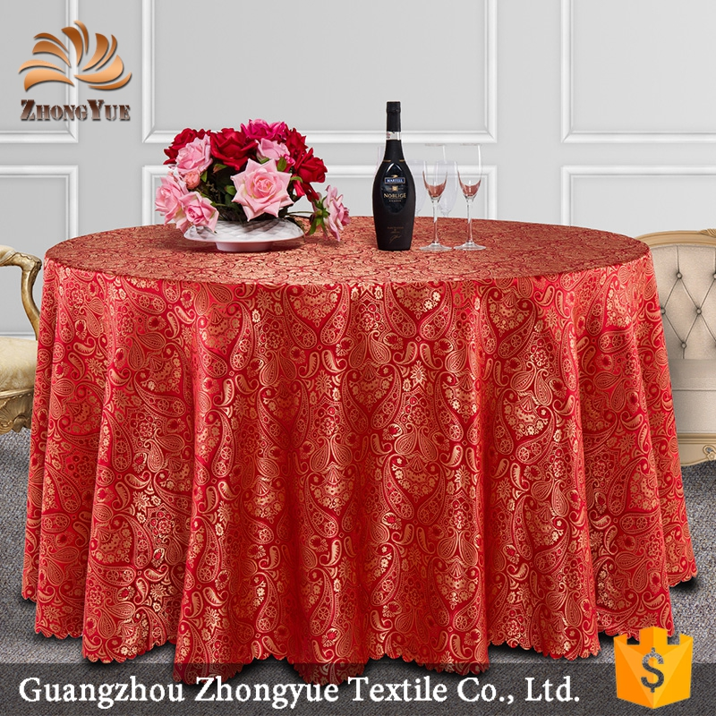 2016 new jacquard gold banquet table cloth for sale