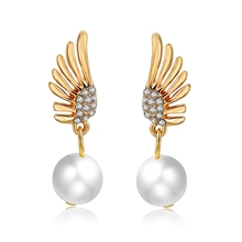 Longway Fashion Jewelry Flying Wing With Pearl Pendant Earring