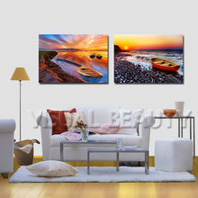 Beauty Seascape Picture Print On Canvas Boat on Beach Wall Art Sunrise Landscape Painting For Wholesale