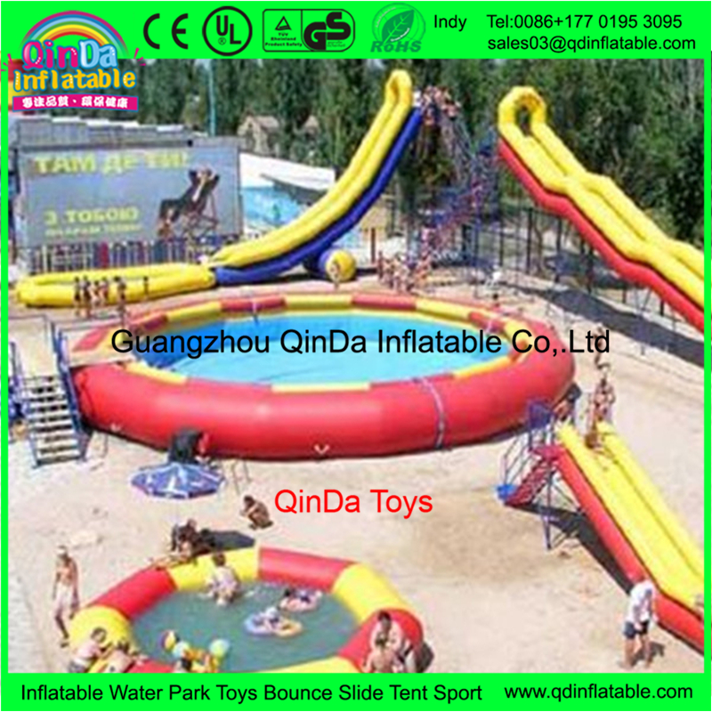 2017 new design above ground inflatable swimming pool China for water fun park