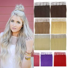 China Supplier 100% European invisible tape hair extensions double drawn thick end 100 grams for white women