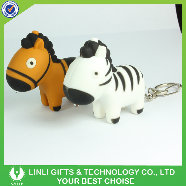 Custom Logo Led Light Zebra Sound Activated Keychains
