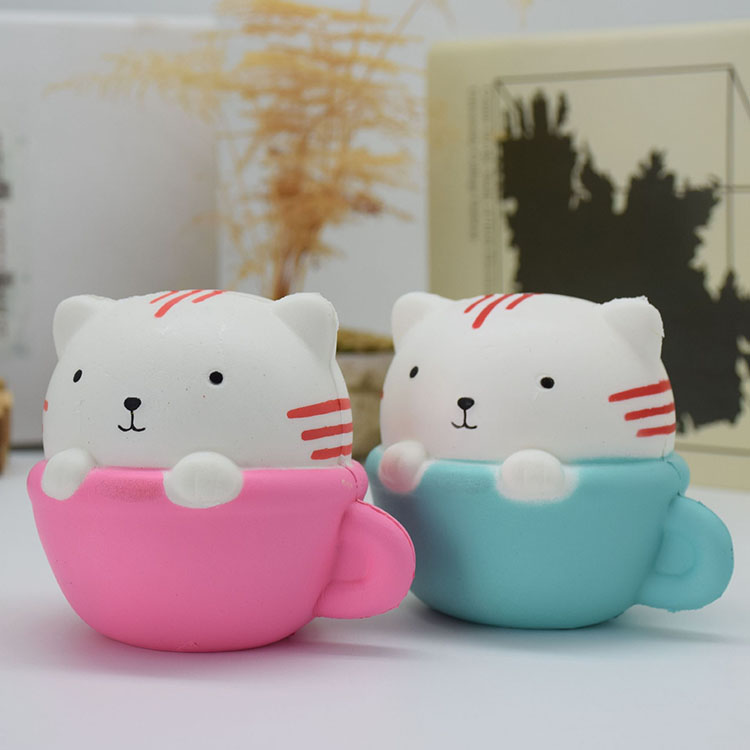 Novelty Toys Round Cup Cat Slow Rising Squishy