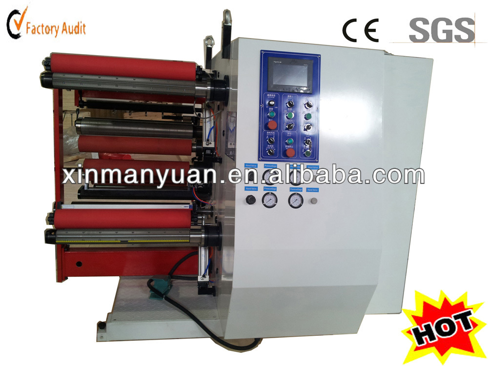 High speed full automatic plastic film slitting and rewinding machine