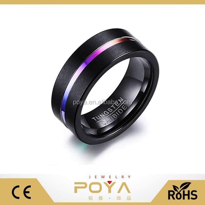 POYA Jewelry 8mm Black and Rainbow Colors Tungsten Carbide Wedding Promise Engagement Ring for Men