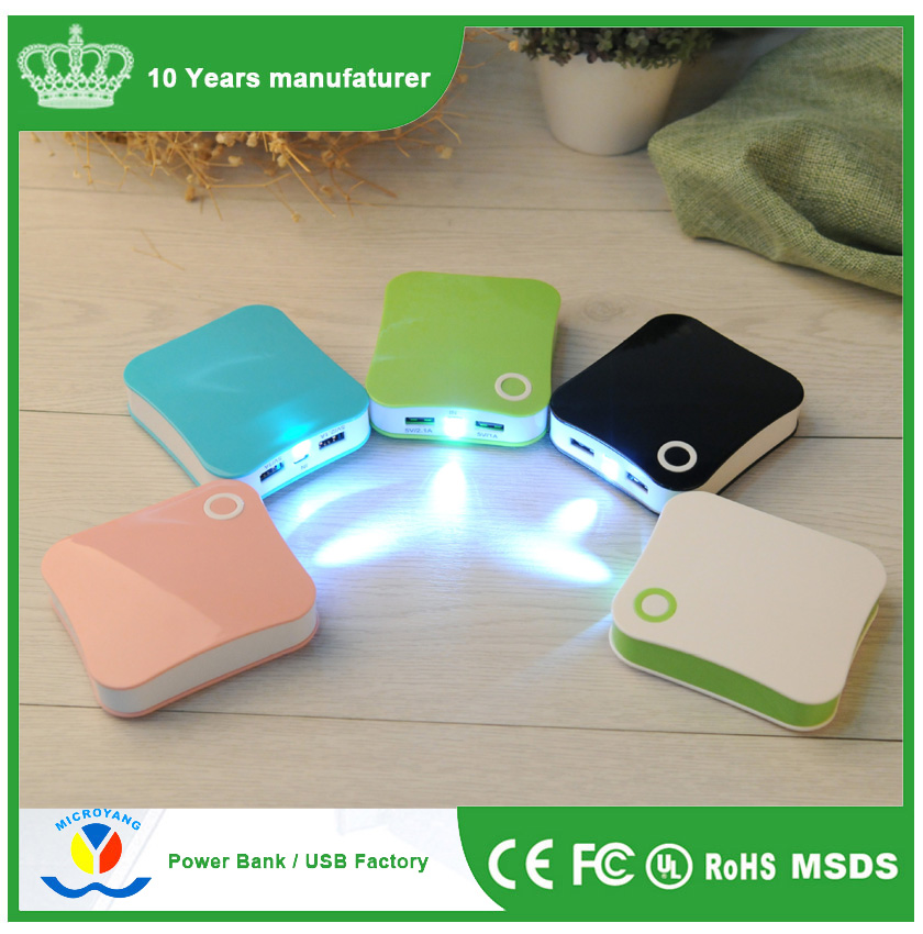 free sample products company names, colorful diy led torch light portable power bank 7800mah