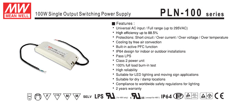 Original MEANWELL PLN-100-36 36V 100W Single Output Switching Power Supply LED Driver Hangzhou Hopehill Technology CO.,ltd