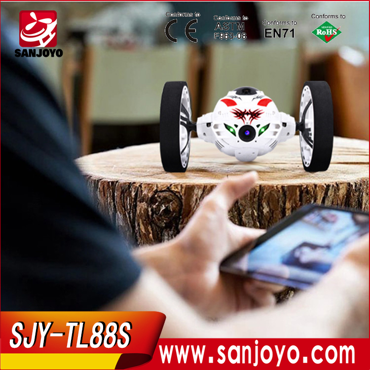 TL88S RC hd camera real-time trasmission bounce jumping car with led light mobile control toys car