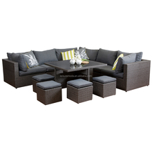 rattan GARDEN furniture rattan wicker dining sofa set with stool