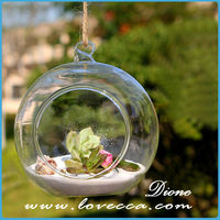Clear Glass Hanging 4 Inch Round Ball Air Plant Terrarium Globe / Hanging Votive Candle Holder