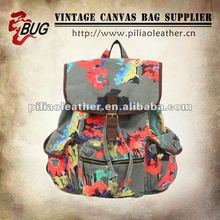 Fashion Floral Printed Canvas Backpack Bag For Girls