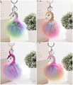 Colorful Fur Ball Unicorn Keychain PU Unicorn Fur Ball Pendant Imitation Fox fur Colorful Unicorn Ornaments