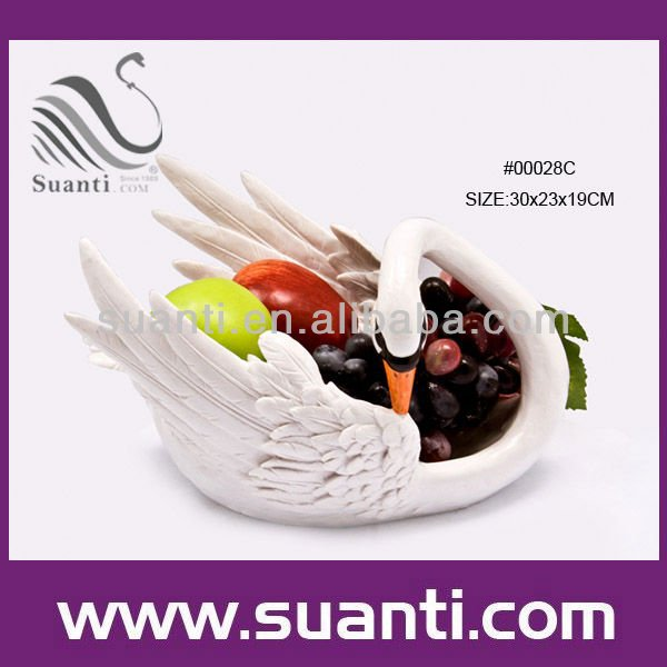 Unique Decorative White Resin Swan Shape Fruit Bowl for Home Decor
