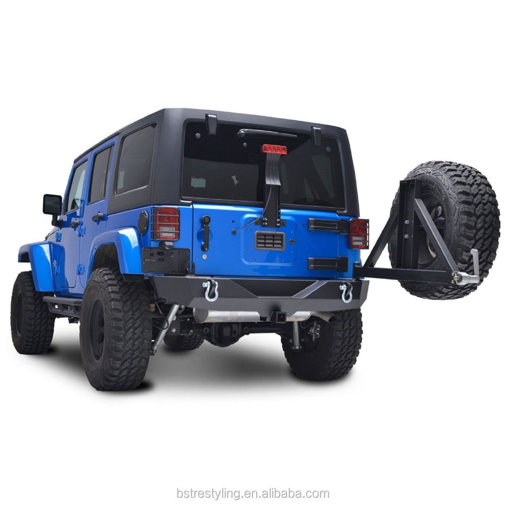 07-16 Jeep Wrangler JK Textured Black Heavy Duty Rock Crawler Rear Bumper with Tire Carrier & 2 Hitch Receiver