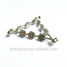 Stainless Steel Unique Flower Cryastal Body Jewery Industrial Piercing Barbell SMSHIN0019