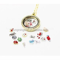 30MM round floating charms gold crystal locket necklace wholesale