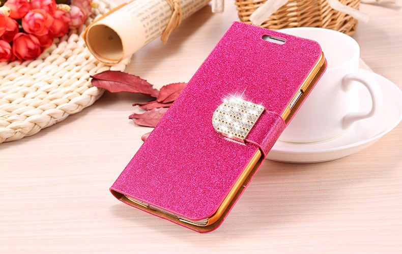 Fashion Women Girl Bling Diamond Glitter PU Leather Flip Phone Case for Samsung Galaxy S7 Stand Wallet Cover Case