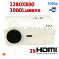 3000 lumens led projector with 3 hdmi support full hd 1080p, 1280*800 native resolution