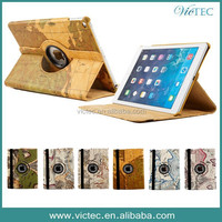 Factory China Supplier For iPad Air 2 Map Grain Rotary Design Tablet Case