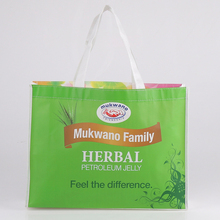green color laminated printing non woven tote bag for shopping