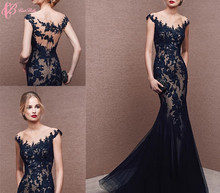 Alibaba Suzhou Cheap See Through Black Lace Applique Mermaid Evening Dresses 2018